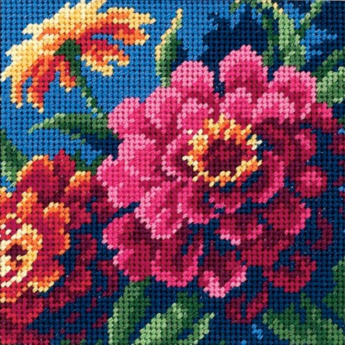 Hydrangea Blue Needlepoint - Dimensions Needlecrafts Needlepoint, Zinnias