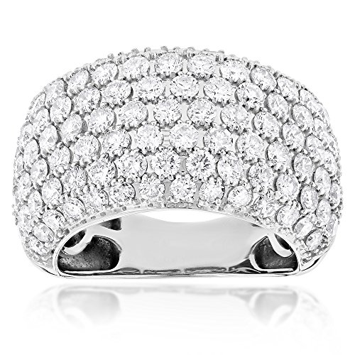 Luxurman Womens Large Big Gold Nautral Diamond Ring 14K Statement Jewelry (White Gold Size 8)