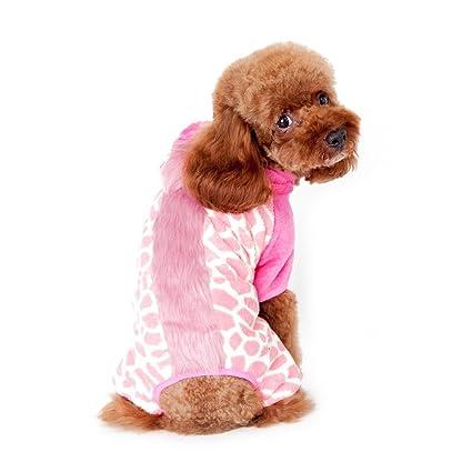34d9ba6b8 Gold Wing Cute Cozy Coral Fleece Sweetie Leopard Print Pet Dog Coat  Jumpsuit Hoodie Pink M