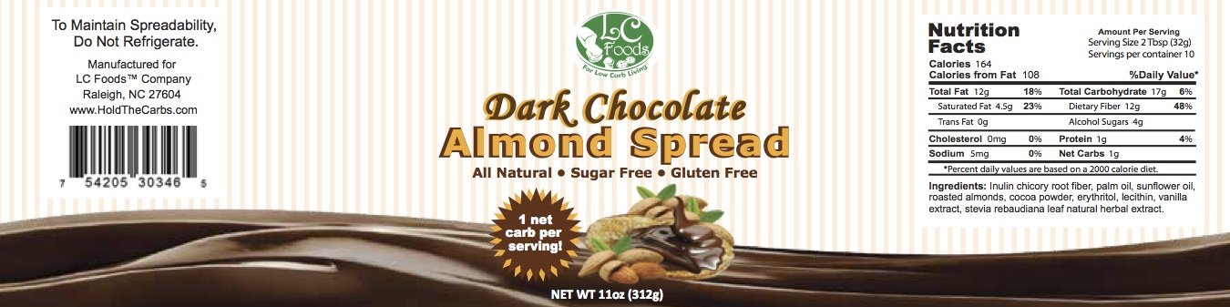 Low Carb Dark Chocolate Almond Spread - LC Foods - All Natural - Paleo - Gluten Free - No Sugar - Diabetic Friendly - 11 oz