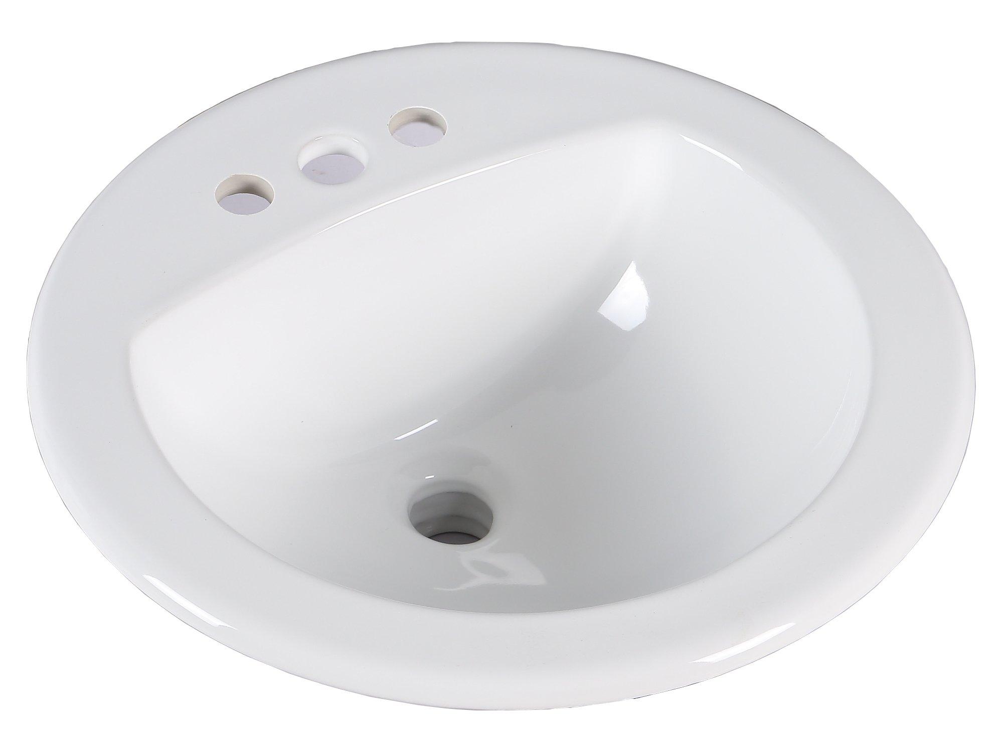 KINGSMAN 19 Inch Round Topmount / Self Rimming / Drop In Vitreous Ceramic Lavatory Vanity Bathroom Sink Pure White