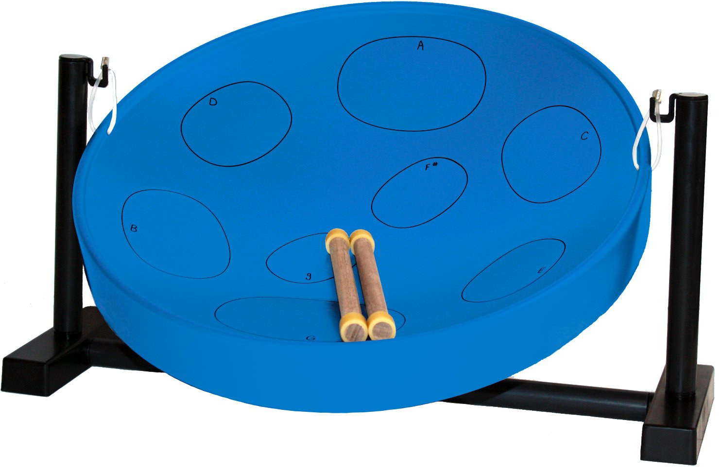 Panyard Jumbie Jam Steel Ready to Play Kit-Blue G-Major with Table Top Stand-Made in USA Authentic Pan, 16-inch (W1085) by Panyard