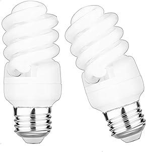 WMWZM 13W CFL Spiral Light Bulbs (60 Watt) Equivalent Warm White (2700K) 1040LM Non-Dimmable (2-Pack)