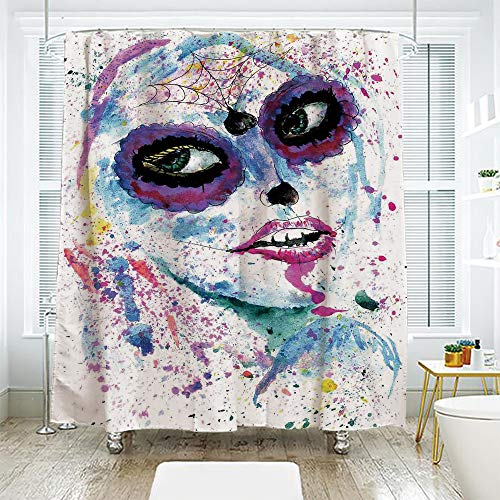 scocici Bathroom Curtain Separation Door Curtain Shower Curtain,Girls,Grunge Halloween Lady with Sugar Skull Make Up Creepy Dead Face Gothic Woman Artsy,Blue Purple,70.8