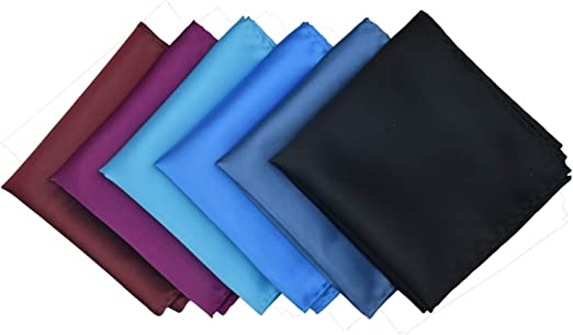 Mens Pocket Squares Solid Color Handkerchief for Wedding Party Microfiber 12 pcs