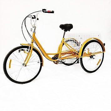 """OUBAYLEW Triciclo Adulto con Cesta 24"""" 3 Ruedas 6 velocidades Ajustable + luz Principal ("""