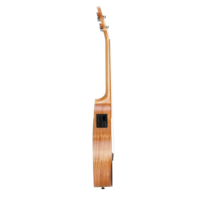 Donner - Ukelele con cuerpo de madera maciza de caoba con afinador EQ