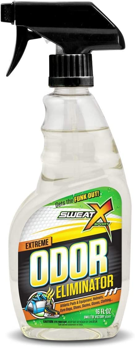 Sweat X Sport Extreme Odor Eliminator Spray, Multipurpose Deodorizer for Stinky Shoes, Sports Equipment and All Odors, 16 Ounce Concentrated Formula, No Washing Required