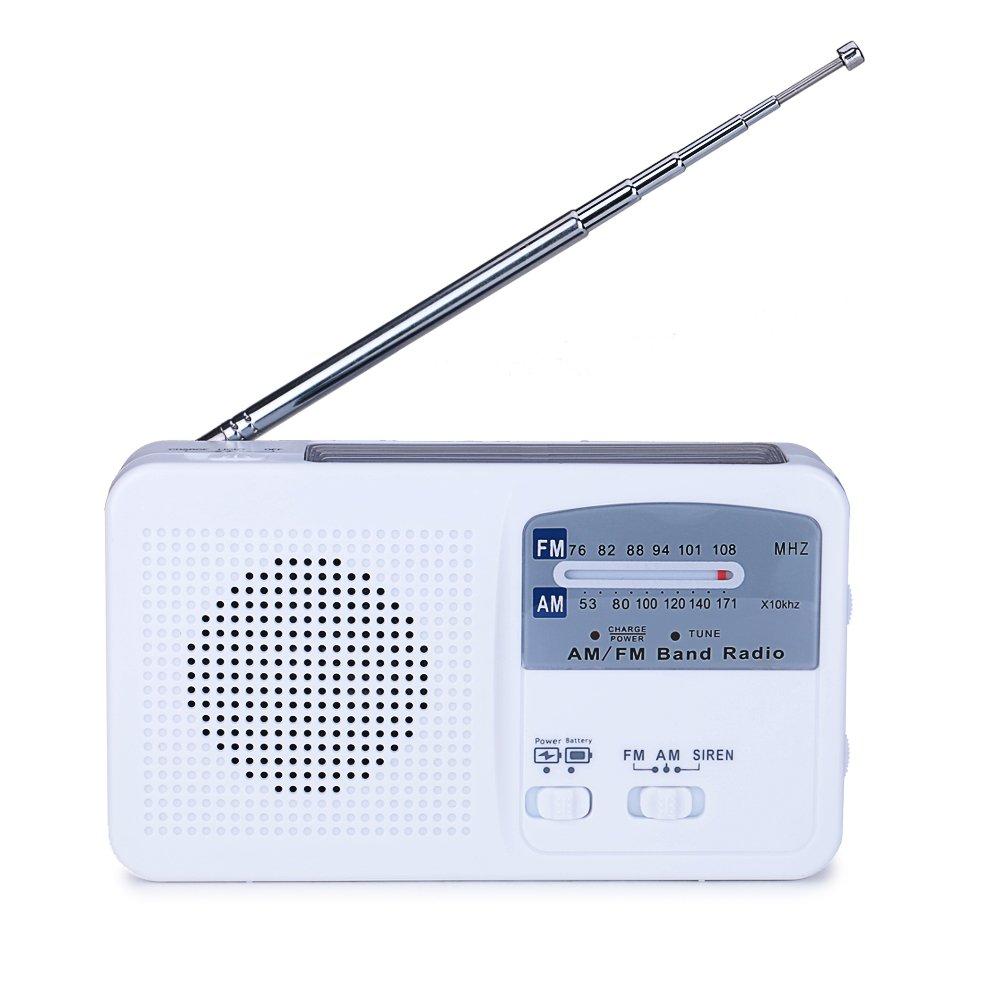 Lanshanchu Hand Crank Dynamo LED Emergency AM/FM Sola Radio LED Flashlight with USB Cellphone Charger (White)