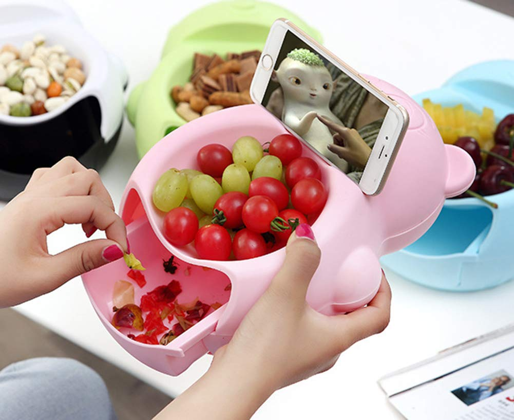 Lazy Fruit Tray with Cellphone Holder Slot,Multi-function Stylish Double Layer Snack Bowl Household Plate Dish Organizer (PINK)