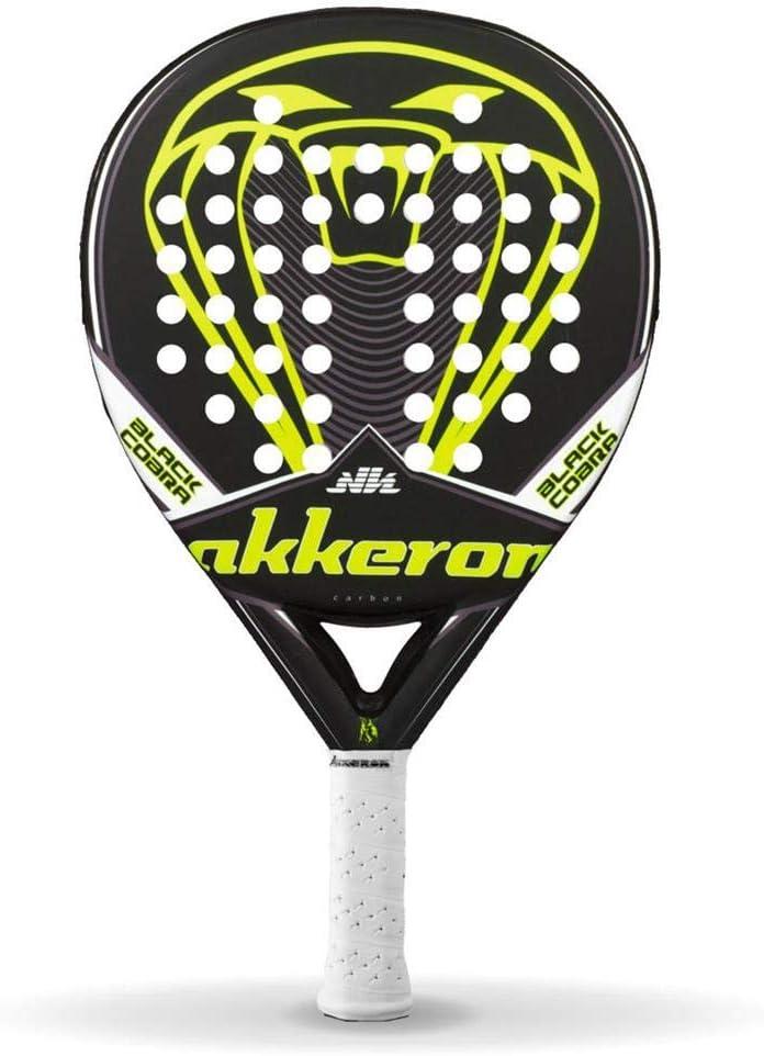 Akkeron pala de padel Black Cobra R X9 funda incluída | negro y amarillo | puente abierto | antivibración