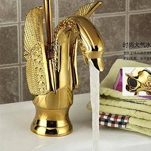 Red Maifeini Faucet, Faucet, Faucet, Faucet, Faucet, Faucet Sanitary Ware Swan Antique Bathroom Vanity Click High Quality Oil Bronze Plated Brass Bath Basin, Yellow