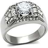 Men's Stainless Steel Round Cubic Zirconia Cluster Wedding Band Ring