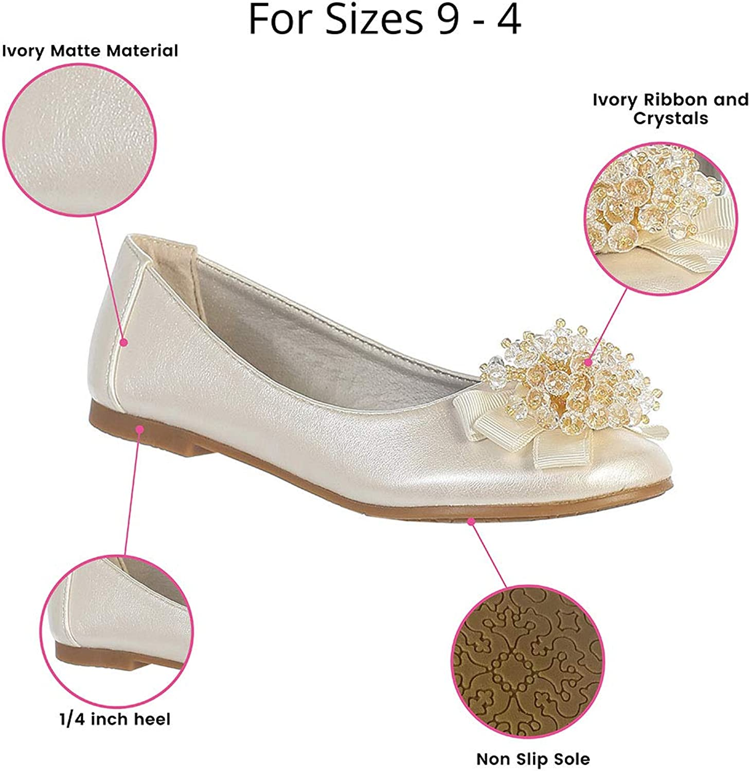 New Girls Kids Youth  Crystal Beads Dress Shoes Flats Easter Party Wedding Fancy