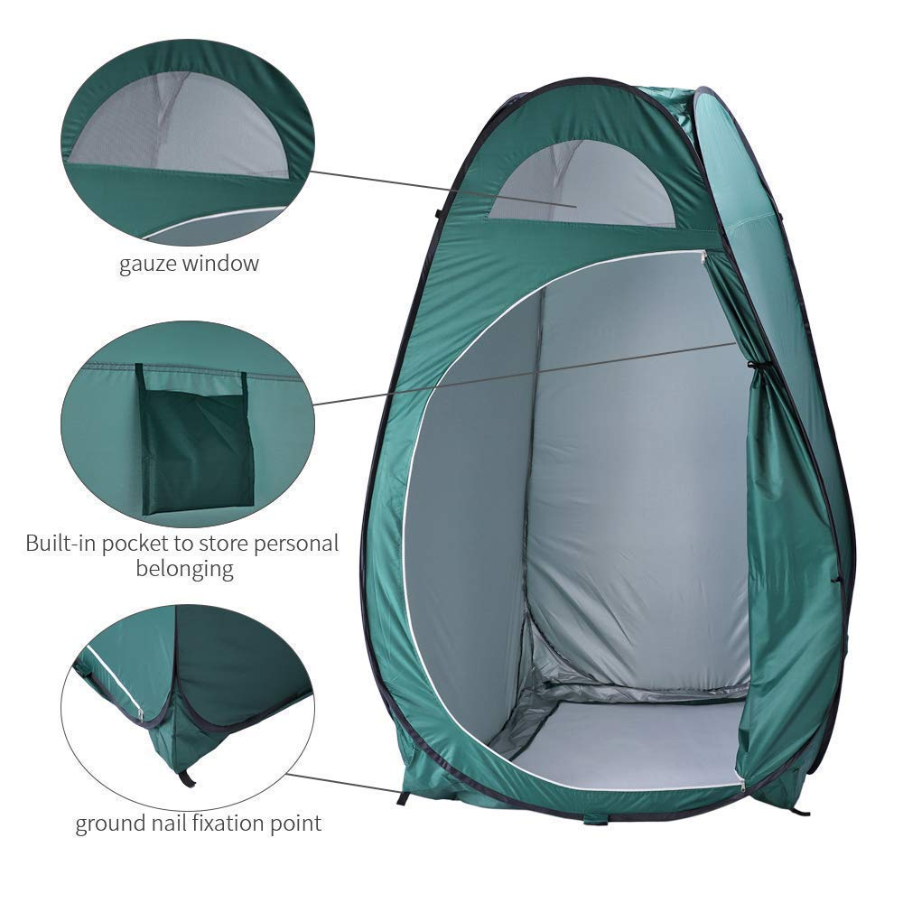 HomVent Pop Up Camping Shower Tent Instant Portable Changing Room Privacy Shelter Tent with Carrying Bag for Camping & Beach (Green) by HomVent