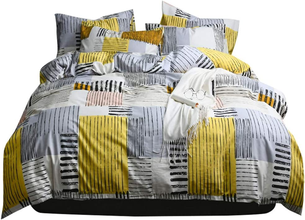 Teens Cotton Plaid Duvet Cover Twin Yellow Grey Stripe Bedding Sets Twin 3 Pieces Duvet Cover Set Geometric Comforter Cover with 2 Pillow Shams for Kids Boys Lightweight Soft Grid Bedding Colloection
