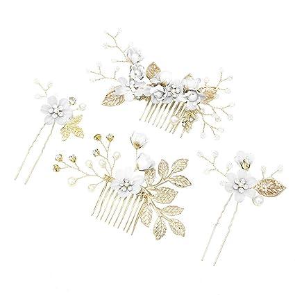 e9ce07c72d2c6 Amazon.com: Toyvian 4pcs Rhinestone Hair Combs Floral Bridal ...