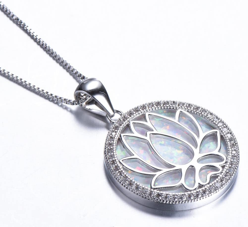Beautiful White Fire Opal 925 Sterling Silver Filled Lotus Necklace /& Chain 40cm