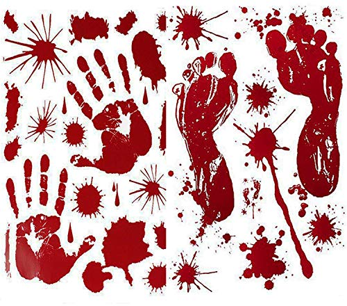 LKDEPO 6 Sheets(120Pcs)Halloween Bloody Handprint Footprint Decals Stickers Decorations - Halloween Party Supplies - Vampire Zombie Fake Bloody Print For Window Wall Floor Bathtub Clings Decals Decor - Halloween Cling Window Decoration