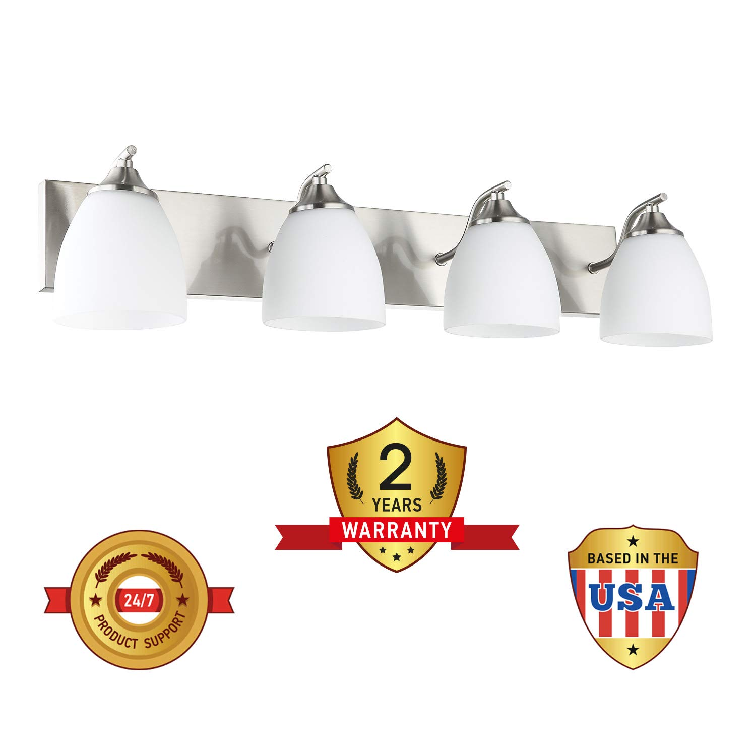 3x60 Watt E26 Socket Satin Nickel Finish with Opal Oval Cone Glass Shade OSTWIN 3-Light Bath Bar Light Up or Down Interior Bathroom Vanity Wall Lighting Fixture VF42 UL Listed