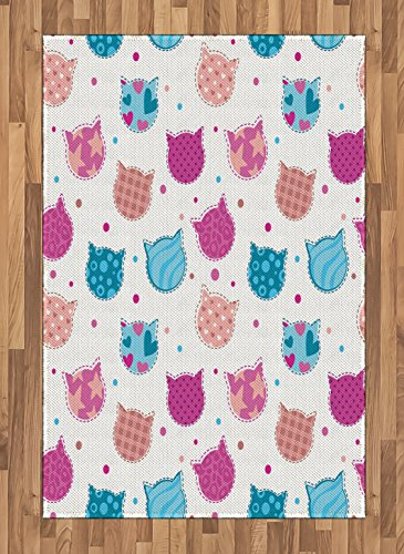 Teen Girls Area Rug by Ambesonne, Cat Heads Silhouettes with Stars Dots and Stripes Checked Patterns Patchwork, Flat Woven Accent Rug for Living Room Bedroom Dining Room, 4 x 6 - Head Cat Silhouette