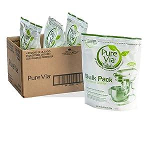 PURE VIA Stevia Sweetener, Granulated Sweetener, Sugar Substitute, Zero Calorie Natural Sweetener, 16 Ounce (Pack of 4)