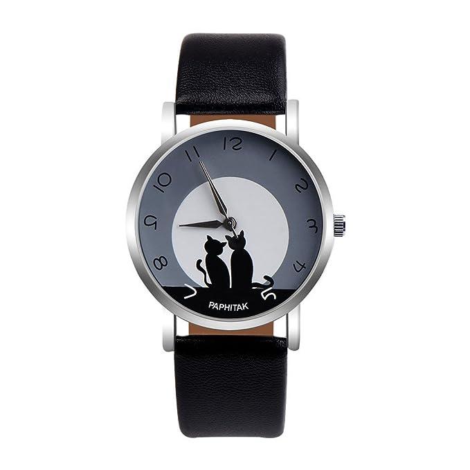 DressLksnf Reloj Lujo Moda de Mujer Pulsera Deportiva Acero Inoxidable Durable Correa de Cuero Digital Clásico Banda de Reloj Cadena Superficie de Estampado ...