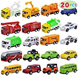 JOYIN 20 Piece Pull Back Cars, Die Cast Metal Toy Cars, Vehicle Set for Toddlers, Kids Play Cars, Matchbox Cars for Girls and Boys, Child Party Favors, Kids Best Gifts