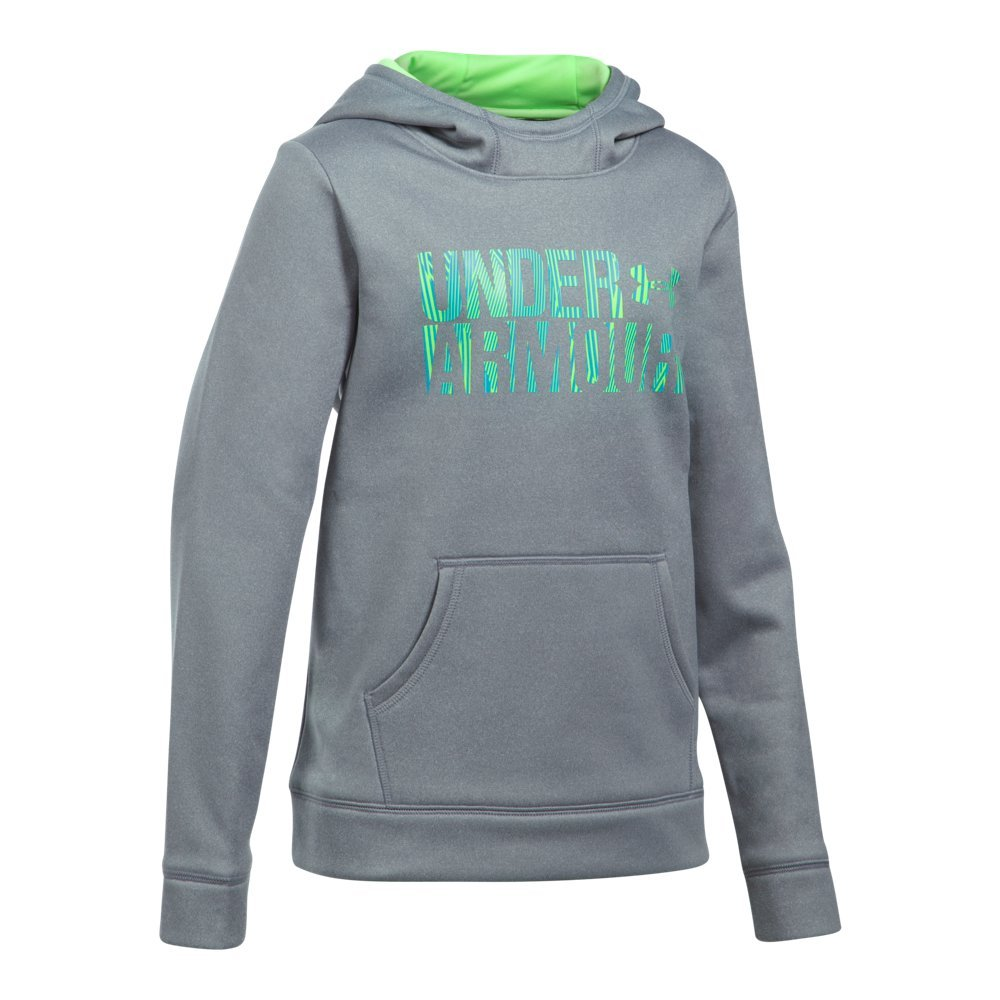 Under Armour Girls Armour Fleece Wordmark Hoodie, Heather/Blue, X-Small/7 Big Kids by Under Armour (Image #1)