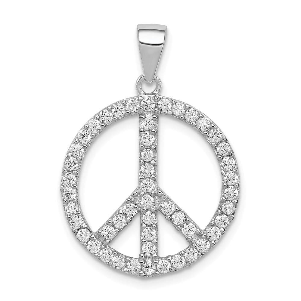 Sterling Silver Jewelry Pendants /& Charms 20 mm 27 mm CZ Peace Symbol Pendant