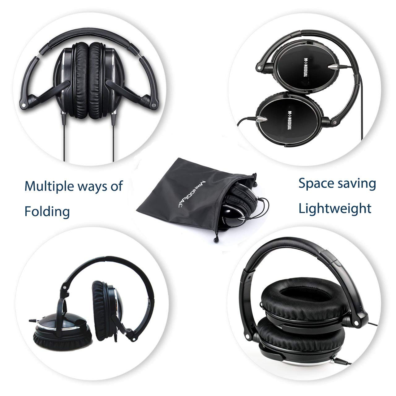 Active Noise Cancelling Headphones with Mic, MonoDeal Overhead Strong Bass Earphones, Folding and Lightweight Travel Headset with Carrying Case - Black …