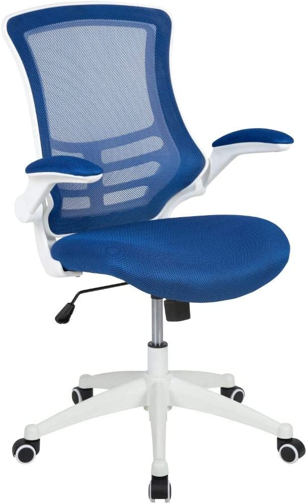 Flash Furniture Mid-Back Blue Mesh Swivel Ergonomic Task Office Chair with White Frame and Flip-Up Arms, BIFMA Certified