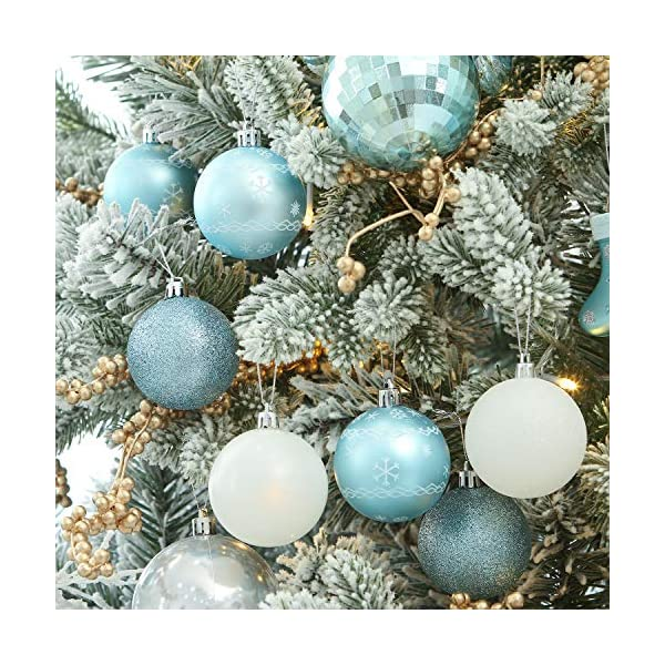 Sea Team 24-Pack Christmas Ball Ornaments with Strings, 60mm/2.36-inch Medium Size Baubles, Shatterproof Plastic Christmas Bulbs, Hanging Decorations for Xmas Tree, Holiday, Wedding, Party, Babyblue 5 spesavip