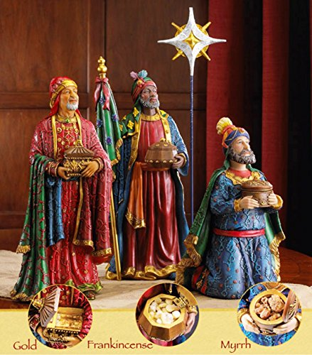 7 Inch Figures Real Life Nativity Full Complete Set - Includes All People, Lighted Manger, Chest of Gold, Frankincense & Myrrh by Three Kings Gifts (Image #3)