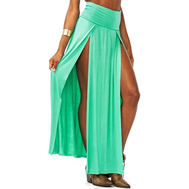 4c3f80dfeb Zeagoo Women's Trends High Waisted Double Slits Maxi Skirt (Green) at Amazon  Women's Clothing store: