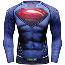 Red Plume Mens Film Super-Hero Series Compression Sports Shirt Skin Running Long Sleeve Tee