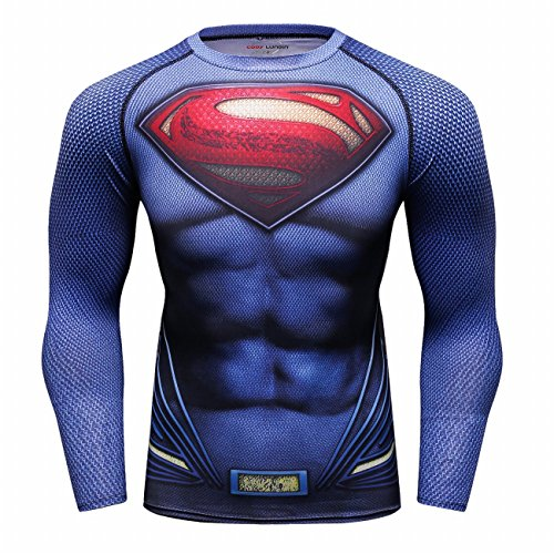 Superman Athletic Shirt - Red Plume Men's Film Super-Hero Series Compression Sports Shirt Skin Running Long Sleeve Tee