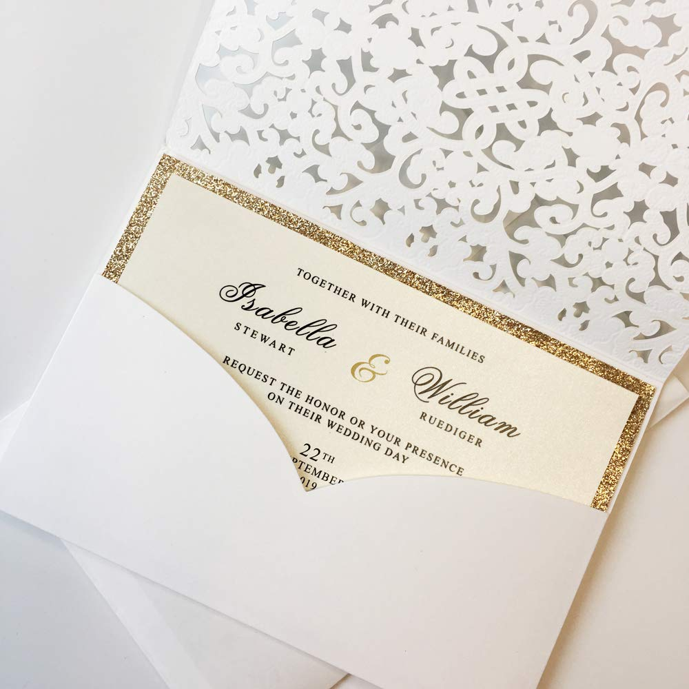 50Pcs Elegant Wedding Invitations by Picky Bride White Invitation Pockets with Gold Glitter Invitation Cards for Wedding/Bridal Shower/Birthday Party 127x185mm - Set of 50 pcs by Picky Bride