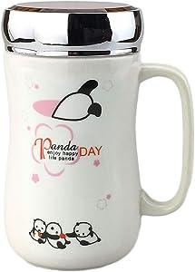 Adorable White Panda Series Coffee Tea Vaccum Cup Tumbler Mug & Lid, Panda Gifts, 13 oz(380 ml)