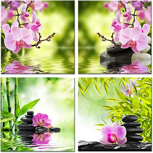 BAMBOO PINK ORCHID FLOWER ZEN MODERN CANVAS WALL ART PRINT PICTURE READY TO HANG