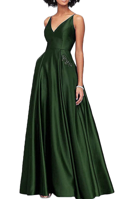 Dark Green WHLWHL Beaded Long Ball Gown Prom Dresses for Women 2019 Satin V Neckline with Pockets