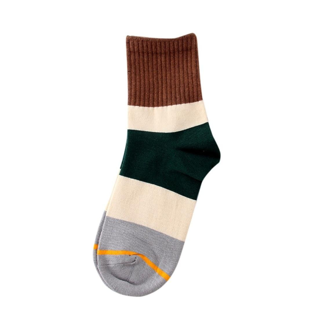 Paymenow Clearance Women Girls Contrast Color Striped Fashion Casual Funny Crew Sock (Coffee)