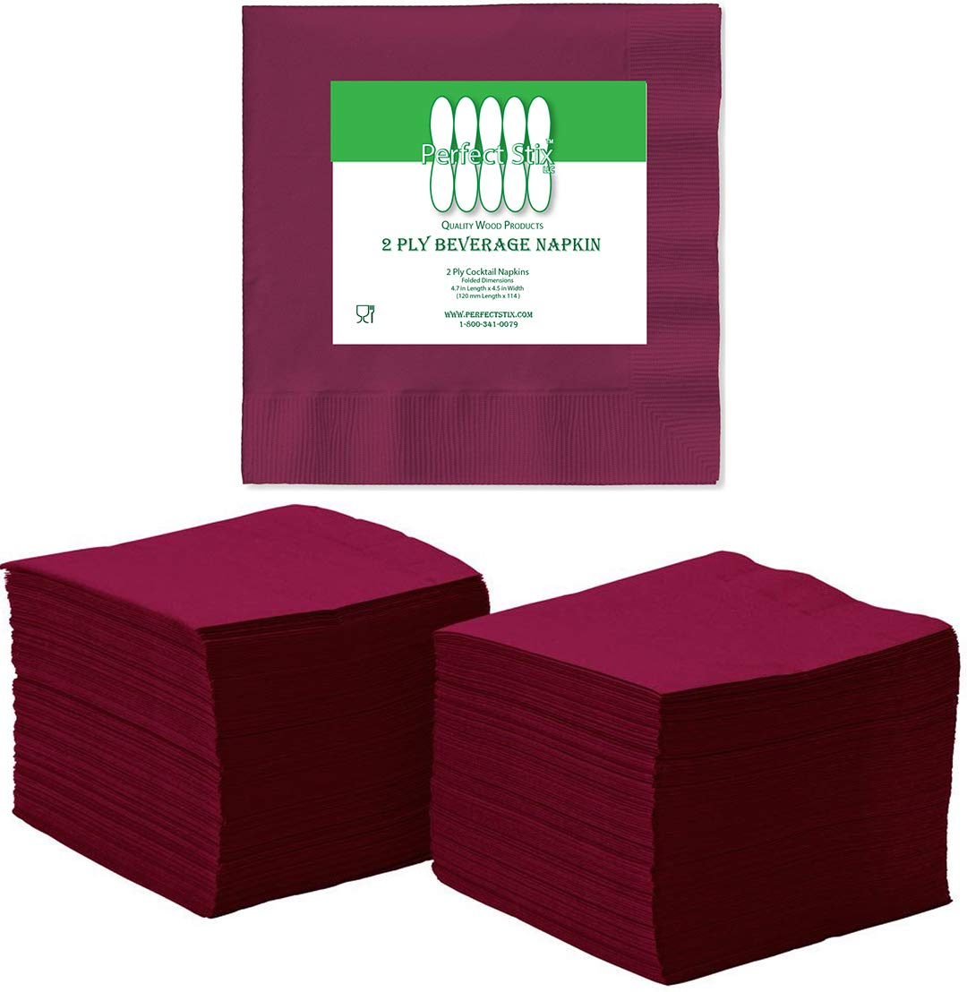 Perfectware 2 Ply Burgundy-200 Burgundy Beverage Napkin Package of 200ct- 2-Ply, 2.5'' Height, 5'' Width, 10'' Length (Pack of 200)