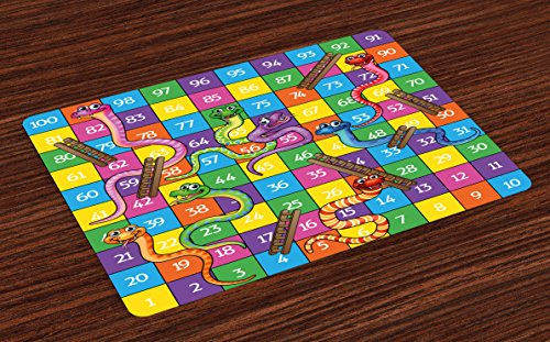 Lunarable Board Game Place Mats Set of 4, Cute Snakes Smiling Faces Numbers in Squares Ladders Childrens Kids Play Print, Washable Fabric Placemats Dining Room Kitchen Table Decoration, Multicolor