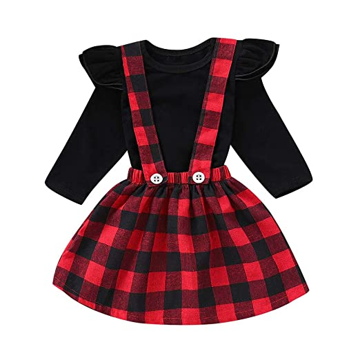 ca95f5d846cb8 Toddler Baby Girls Outfit Cotton Ruffle Long Sleeve Shirts Tops with Girl  Plaid Suspender Skirt Clothing