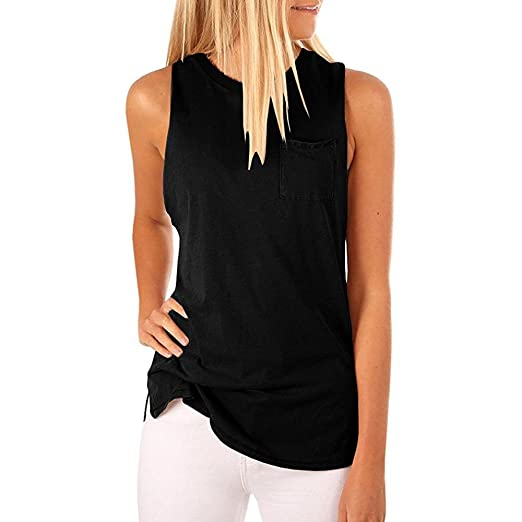 7cc9073895 Image Unavailable. Image not available for. Color  Sttech1 Women s  Sleeveless Pocket T-Shirt Top O-neck Solid Color Comfy Tank Vest