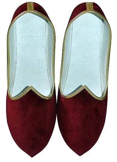 Mens Maroon Velvet Indian Wedding Shoe MJ0001