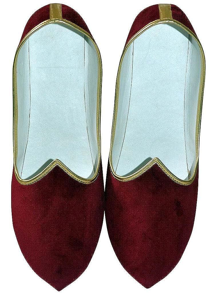 INMONARCH Hombres de Terciopelo Granate Boda India Zapato MJ0001 46 EU