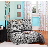 Your Zone Flip Chair | Ultra Suede Material | Chair Easily Converts into a Bed (Zebra)