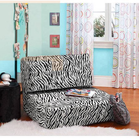 Your Zone Flip Chair | Ultra Suede Material | Chair Easily Converts into a Bed (Zebra) by Your Zone